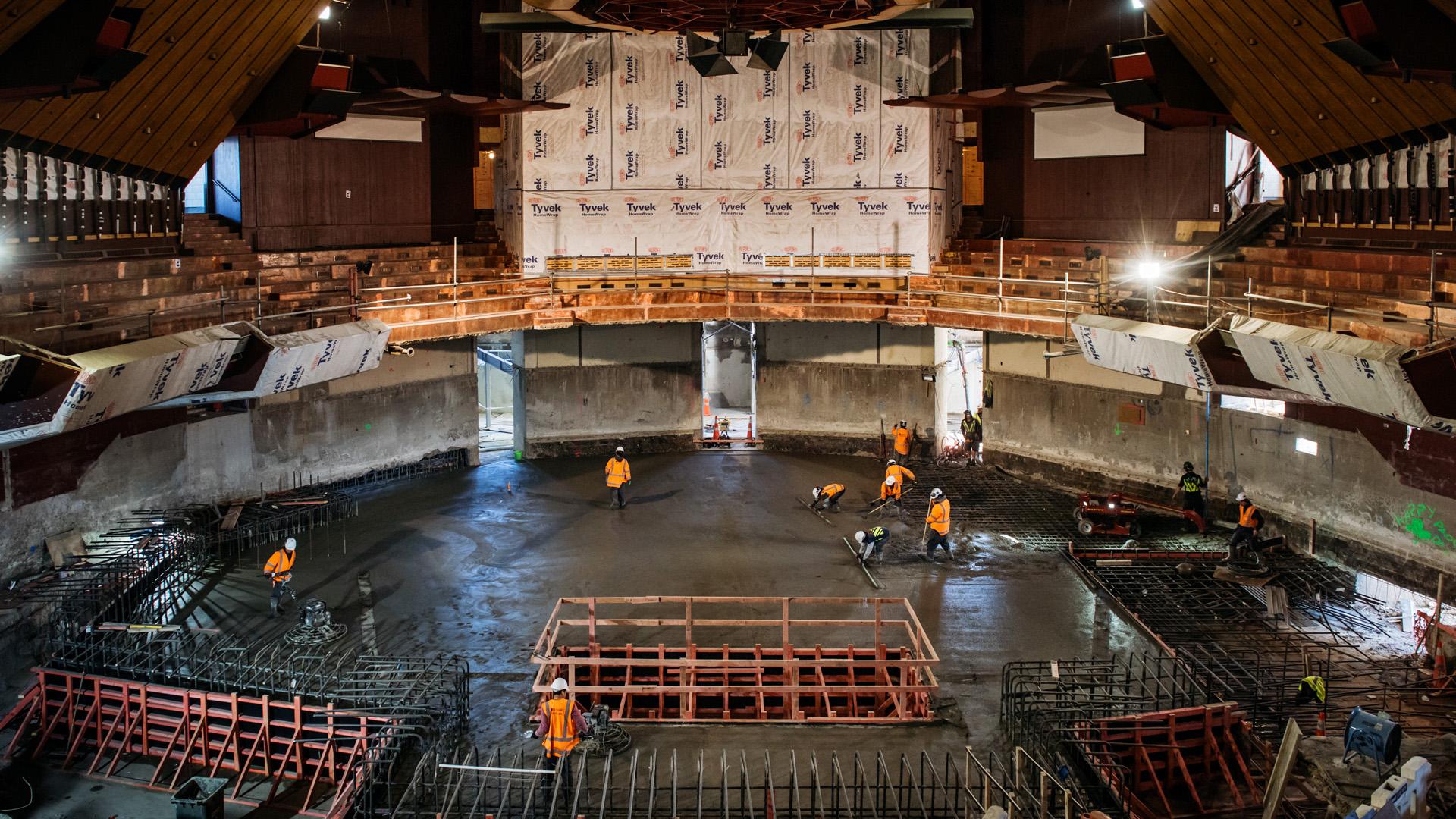 Christchurch Town Hall Auditorium Concrete Pour